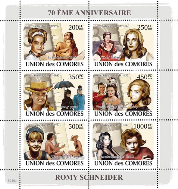 70th Anniversary of Rommy Scneider (1938  1982) - Issue of Comoros postage stamps