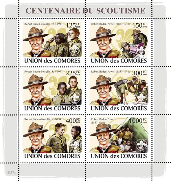 R. Baden Powell & Scouts - Issue of Comoros postage stamps