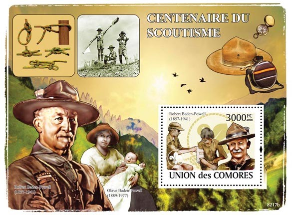 R. Baden Powell & Scouts(Olave Baden Powell) - Issue of Comoros postage stamps