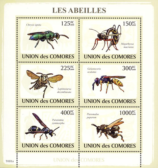 Bees 6v - Issue of Comoros postage stamps