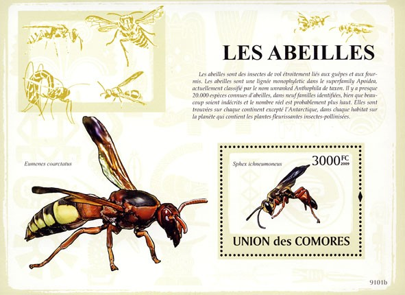 Bees s/s - Issue of Comoros postage stamps