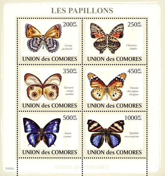 Butterflies 6v - Issue of Comoros postage stamps