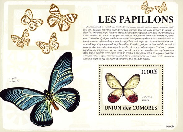Butterflies s/s - Issue of Comoros postage stamps