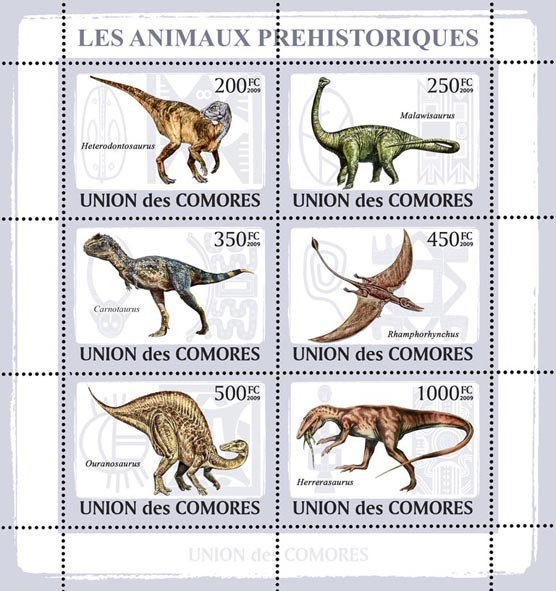 Dinosaurs - Issue of Comoros postage stamps