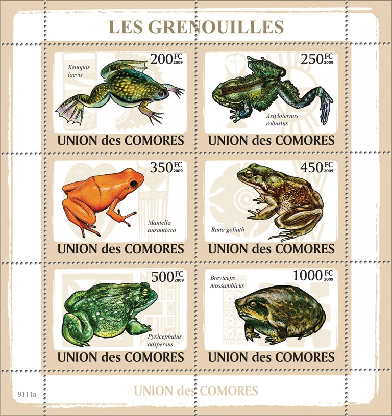 Frogs - Issue of Comoros postage stamps