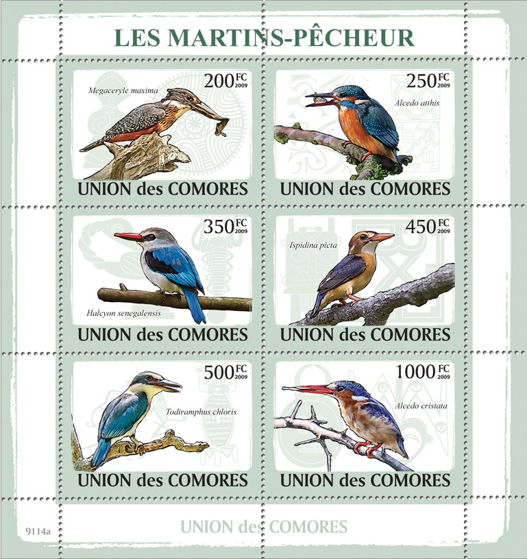 Fishing Birds - Issue of Comoros postage stamps