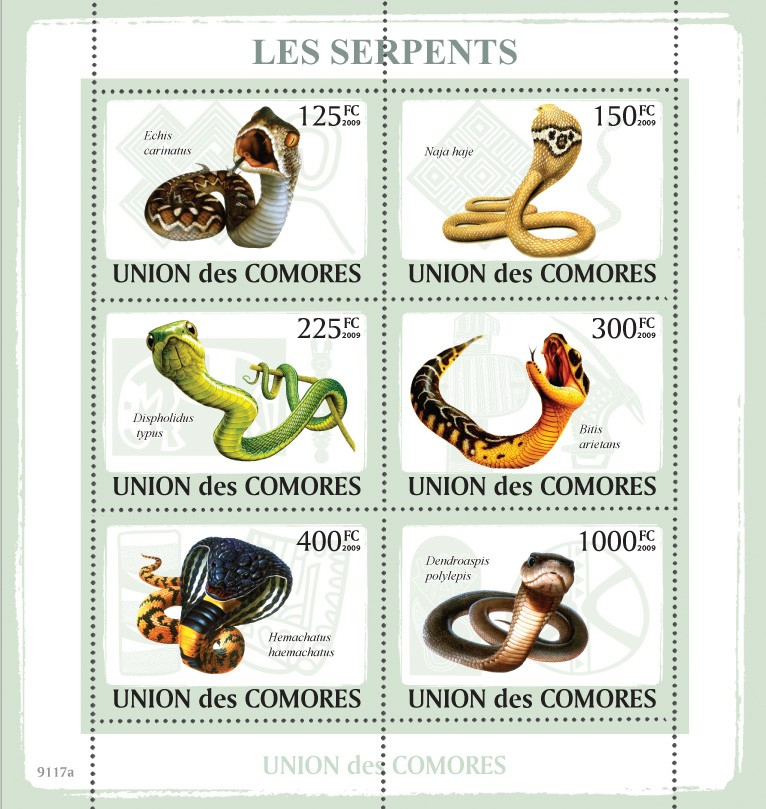 Snakes 6v - Issue of Comoros postage stamps