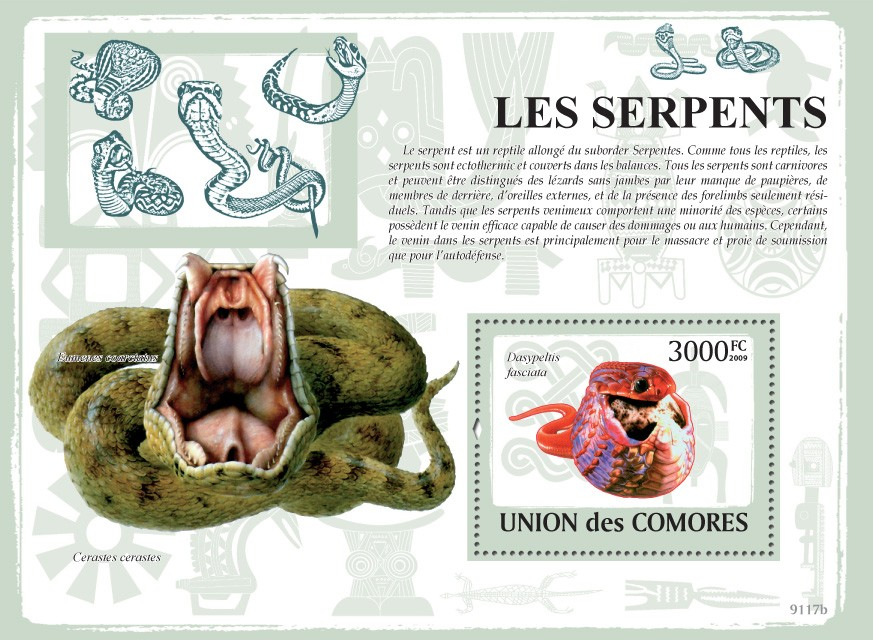 Snakes s/s - Issue of Comoros postage stamps