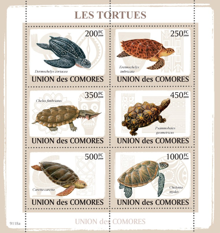 Turtles 6v - Issue of Comoros postage stamps