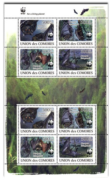 WWF Bats 8v - Issue of Comoros postage stamps