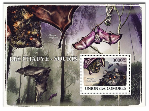 Bats s/s - Issue of Comoros postage stamps