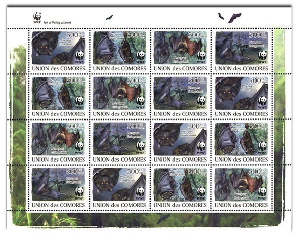 WWF Bats 16v - Issue of Comoros postage stamps