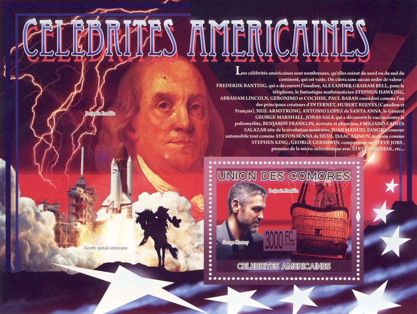 Celebrities of America B.Franklin, G.Clooney (Space Sh - Issue of Comoros postage stamps