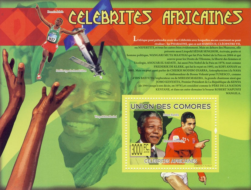 Celebrities of Africa  N.Mandela, M.Aboutrika (K.Bekele, W.M.Maathai, Sattelite) - Issue of Comoros postage stamps