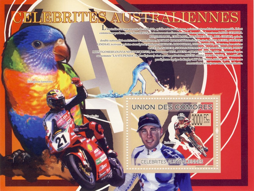 Celebrities of Australia  Brett Aitken (Troy Bayliss, Parrot) - Issue of Comoros postage stamps
