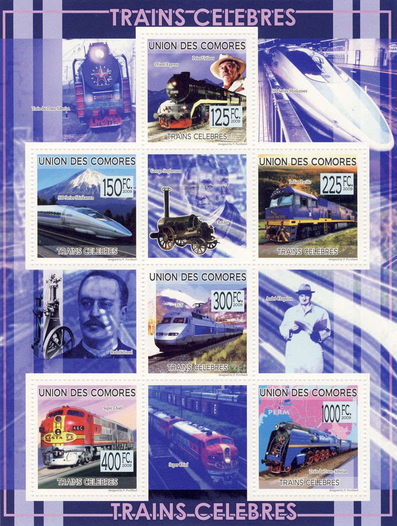 Trains Celebrities East Express, 500 Series Shinnansen, Indian Pacific, TGV, Super Chief, Trans Siberian, - Issue of Comoros postage stamps