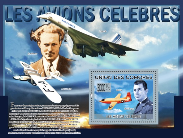 Celebrities of Aviation - Chuck Yeager, Bell X-1 (J. Mermoz, Lat?�co?�re 300, Concorde) - Issue of Comoros postage stamps