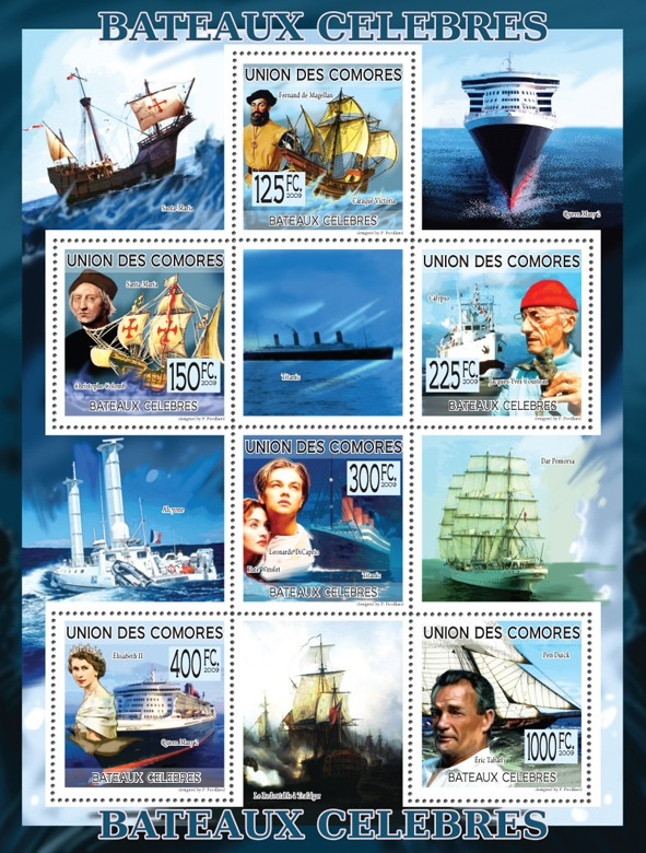 Famous Ships - F. Magellan, Ch. Columb, J. Cousteau, L. DiCaprio, K Winslet, Elisabeth II, E. Tabarly. - Issue of Comoros postage stamps