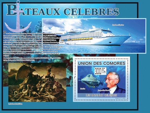 Famous Ships - Jacques-Yves Cousteau, Nautilus (Freedom of the Seas) - Issue of Comoros postage stamps