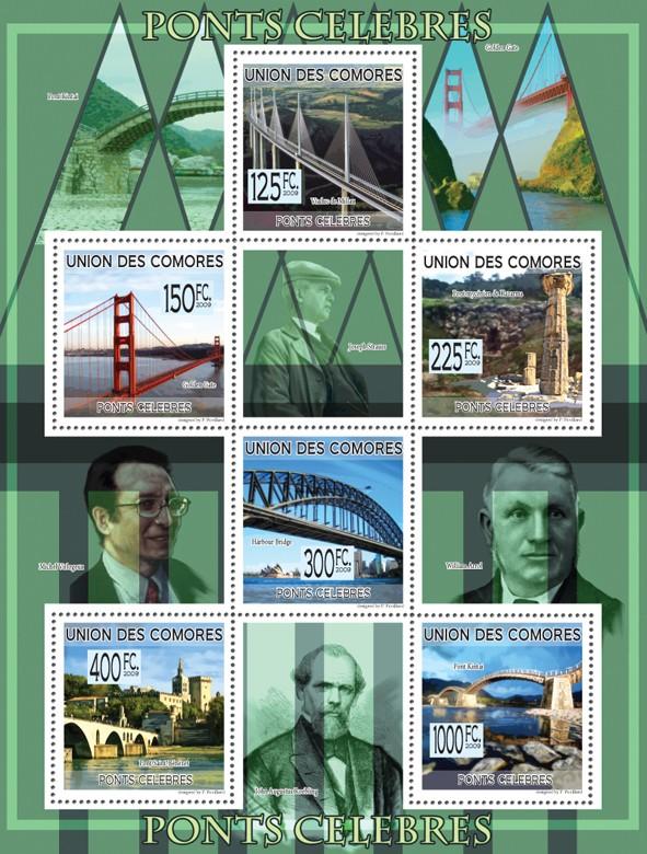 Famous Bridges -  Viaduc de Millau, Golden gate, Pont mycenien de Kazarma, Harbour brige, Pont Saint-Benezet, Pont Kintai. - Issue of Comoros postage stamps