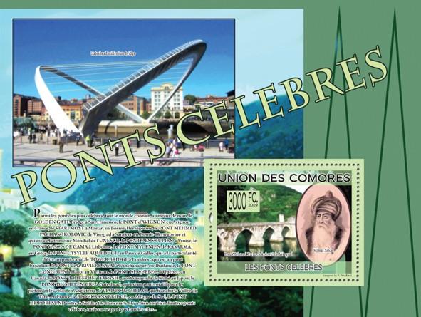 Famous Bridges - Pont Mehmed Pacha Sokolovic de Vi�?egrad, Mimar Sinan - Issue of Comoros postage stamps