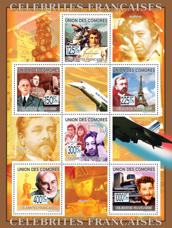 Celebrities of France - Napoleon Bonaparte, Charles de Gaulle, Gustave Eiffel, Serge Gainsbourg, J. Birkin, Arman, P. Starck - Issue of Comoros postage stamps