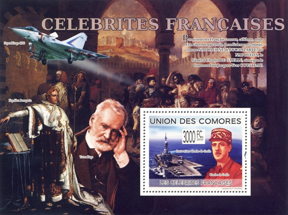 Celebrities of France - Charles de Gaulle, Porte-avions Charles-de-Gaulle - Issue of Comoros postage stamps