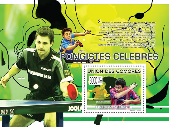 Famous Table Tennis Players - Jean-Philippe Gaten (Tim Boll, Wang Hao) - Issue of Comoros postage stamps