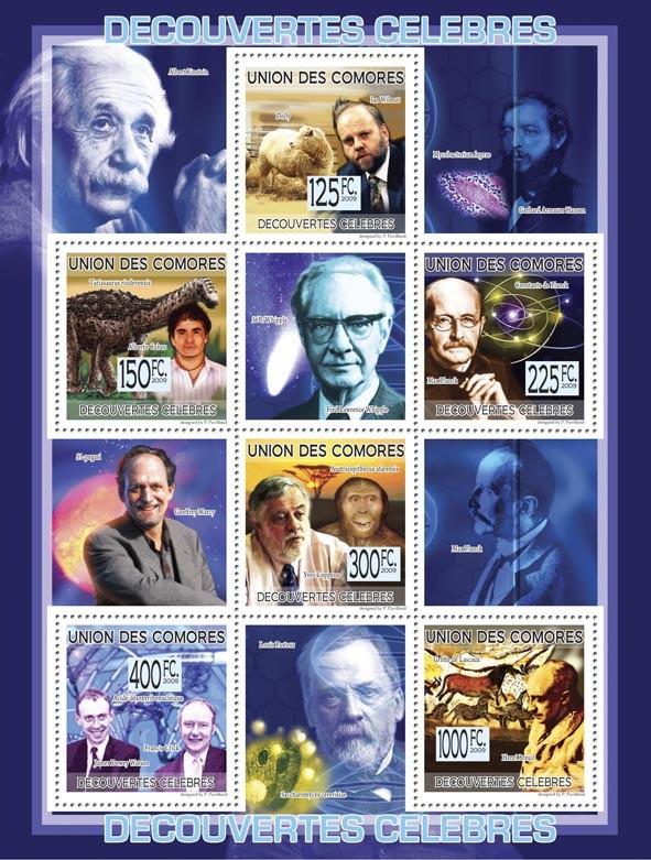 Famous Discoveries  I.Wilmut, A.Cobos, M.Planck, Y. Coppens, F.Crick, J.D.Watson, H.Breus ( L.Pasteur, A.Einstein, etc. ). - Issue of Comoros postage stamps