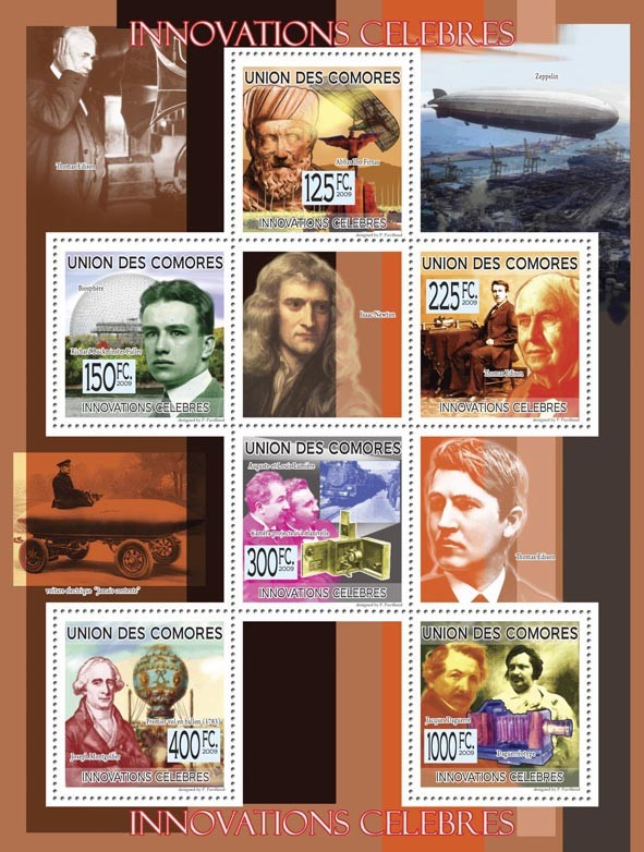 Famous Innovations A.Ibn Firnas, R.B.Fuller, T.Edison, A. and L.Lumerie, J.Montgolfier,  J.Daguerre ( Zeppelin, first car ) - Issue of Comoros postage stamps