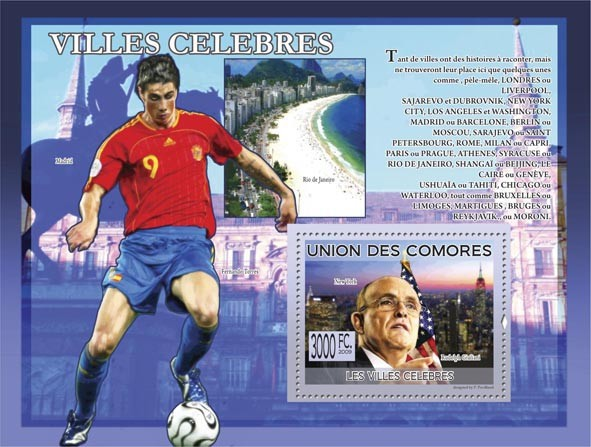 Famous Cities New York, R.Giuliani ( Madrid, Rio de Janeiro, F,Torres ) - Issue of Comoros postage stamps