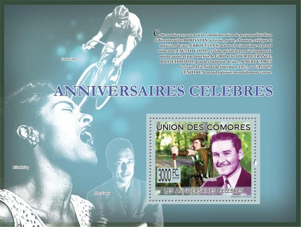 Famous Birthdays  Errol Flynn ( A.Camus, B.Holiday, Fausto Coppi ) - Issue of Comoros postage stamps