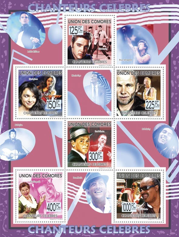 Famous Singers  E.Presley, N.Jones, Sting, Frank Sinatra, E.Fitzgerald, S.Wonder ( R.Williams, B.Dylan, B.Marley, D.Martin ) - Issue of Comoros postage stamps