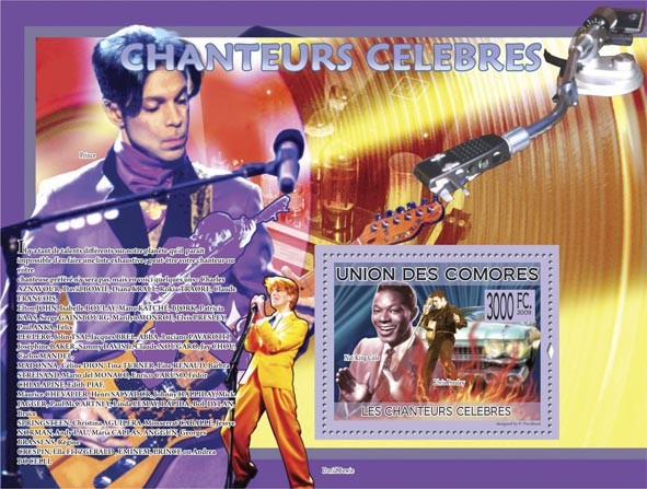 Famous Singers Nat King Cole, Elvis Presley ( Prince, David Bowie ) - Issue of Comoros postage stamps