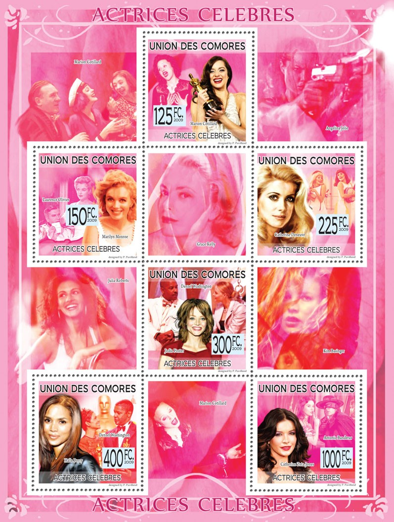 Famous Actresses Marion Cottilard, Marilyn Monroe, C.Deneuve, J.Foster, H.Berry, C.Zeta-Jones ( A.Joly, K.Basinger ) - Issue of Comoros postage stamps