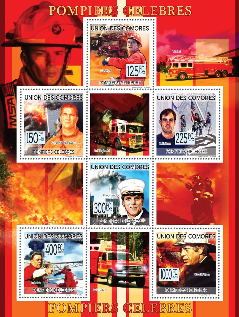Famous Fire-fighters September 11th Terrorist attacks?タᆵJ.Wayne, J.Riches, K.Roma, Peter J.Ganci, Jr., R.Adair, S.McQueen ( Fire Engines ) - Issue of Comoros postage stamps