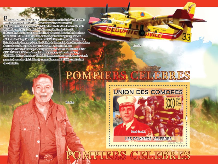 Famous Fire-fighters Peter J.Ganci, Jr. ( Red Adair, Fire-Plane ) - Issue of Comoros postage stamps
