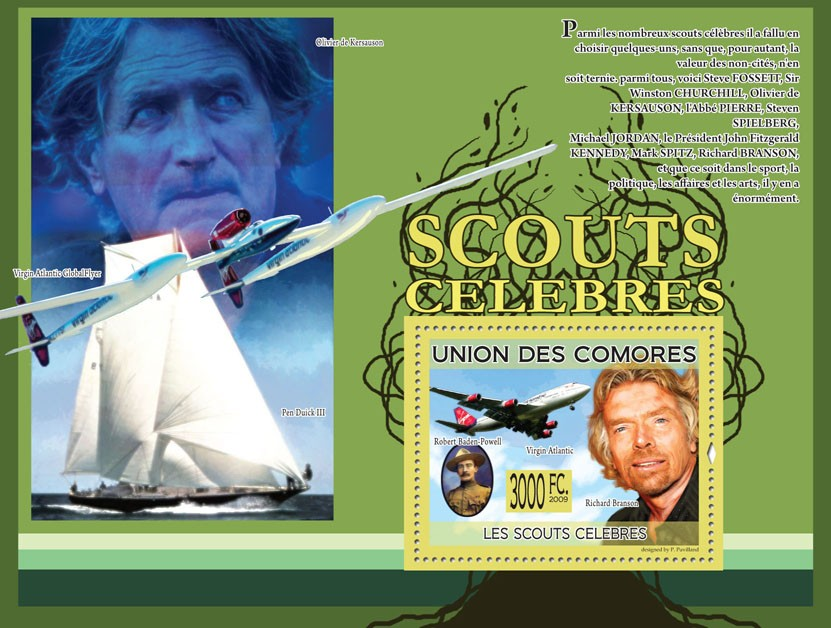Famous ScoutsR.Baden-Powell, Richard Branson , Plane-Virgin Atlantic( Ship  Pen Duick III, Virgin Atlantic Global Flyer ) - Issue of Comoros postage stamps