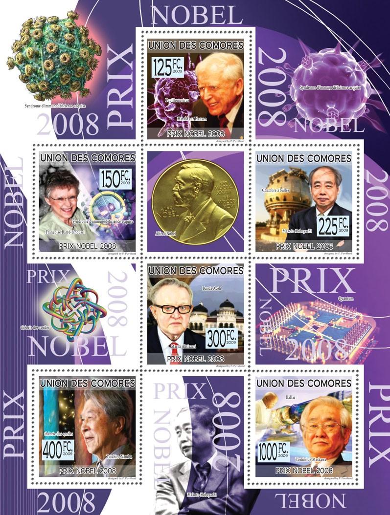 Nobel Prize 2008  E. Hausen, F.Barre-Sinoussi, MakotoKobayashi, Martti Ahtisaari, Y. Nambu, T.Maskawa  ( Alfred Nobel ) - Issue of Comoros postage stamps