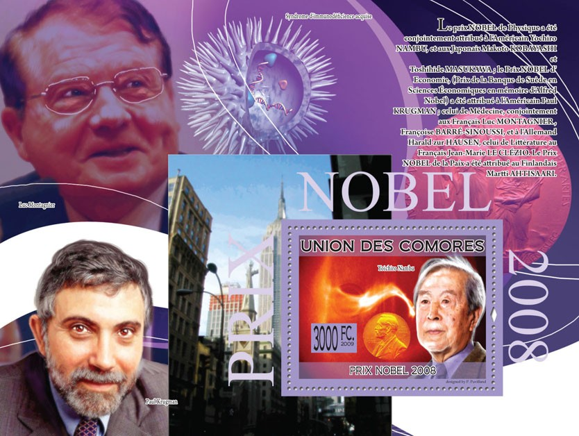Nobel Prize 2008 Yoichiro Nambu ( Paul Krugman, Luc Montagnier ) - Issue of Comoros postage stamps