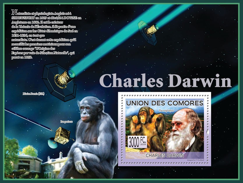 Charles Darwin - Monkeys & Space - Issue of Comoros postage stamps