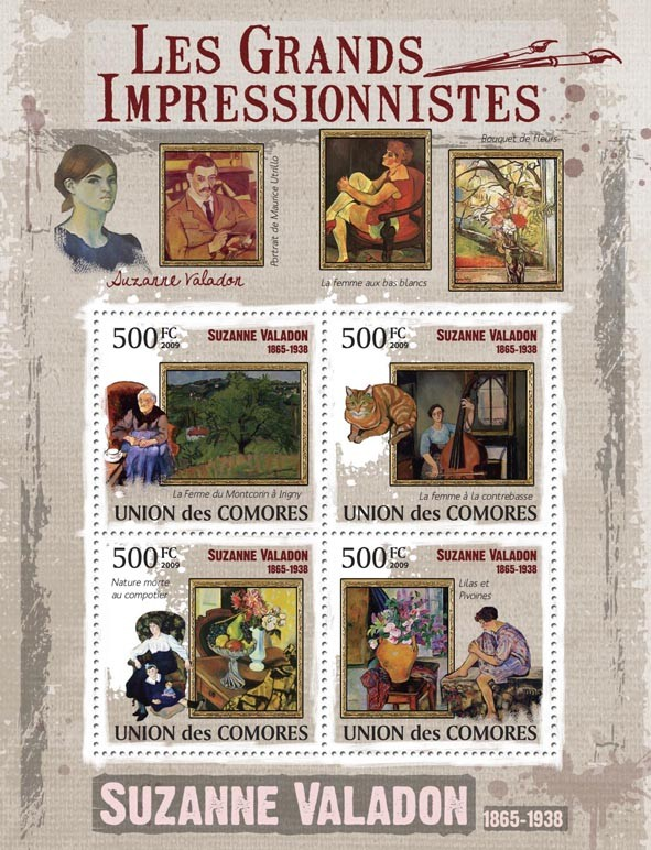 Paintings of Suzanne Valadon ( 1865-1938 ) - Issue of Comoros postage stamps