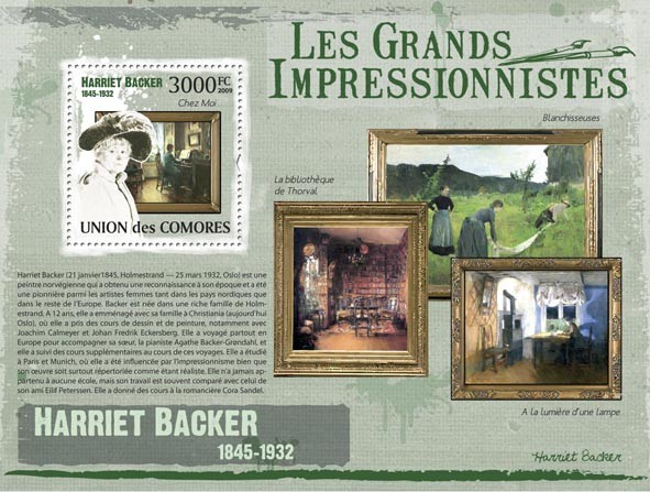 Paintings of Harriet Backer ( 1845  1932 ) - Issue of Comoros postage stamps