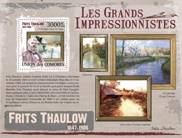 Paintings of Frits Thaulow  ( 1847  1906  ) - Issue of Comoros postage stamps
