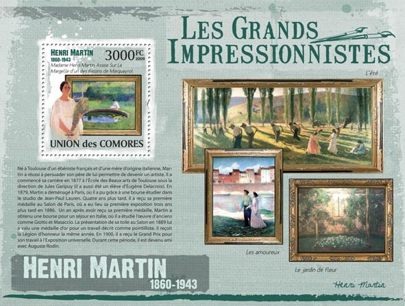 Paintings of Henri Martin  ( 1860 - 1943  ) - Issue of Comoros postage stamps
