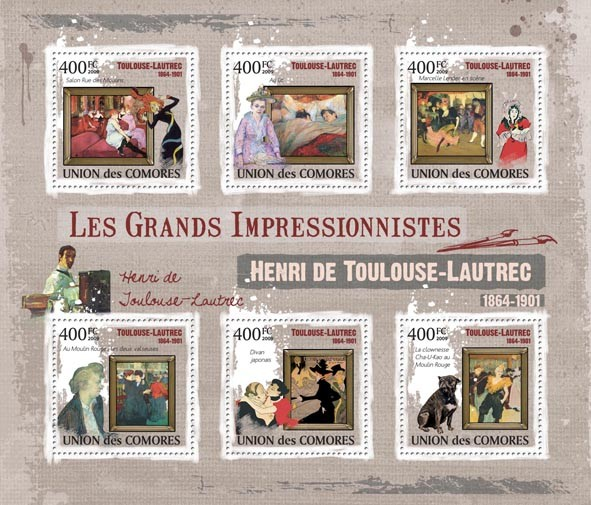 Paintings of Henri de Toulouse  Lautrec   ( 1864 - 1901  ) - Issue of Comoros postage stamps