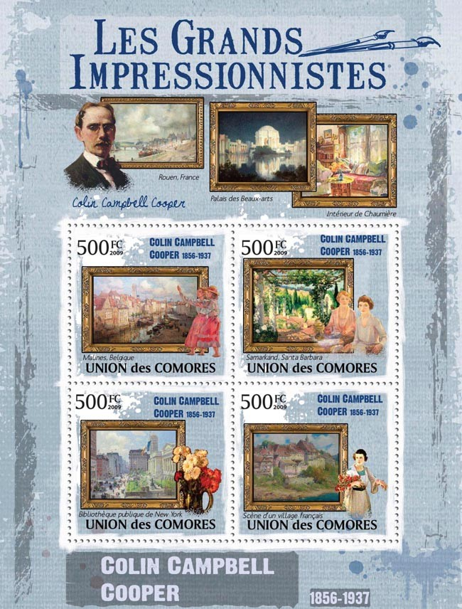 Paintings of Colin Campbell Cooper ( 1856  1937 ) - Issue of Comoros postage stamps
