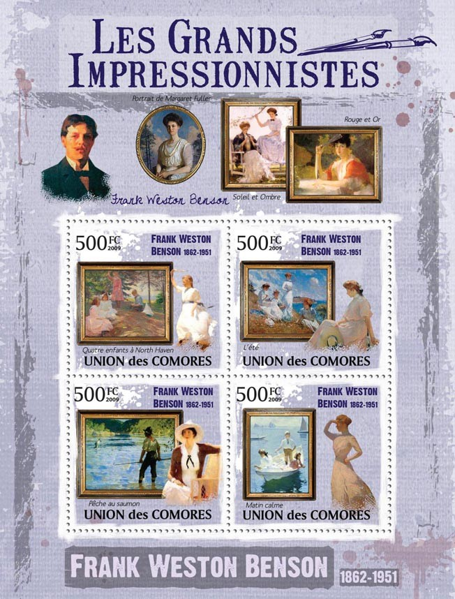 Paintings of Frank Weston Benson ( 1862  1951 ) - Issue of Comoros postage stamps
