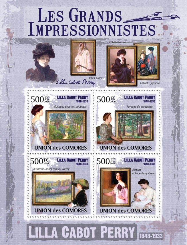 Paintings of Lilla Cabot Perry ( 1848  1933 ) - Issue of Comoros postage stamps