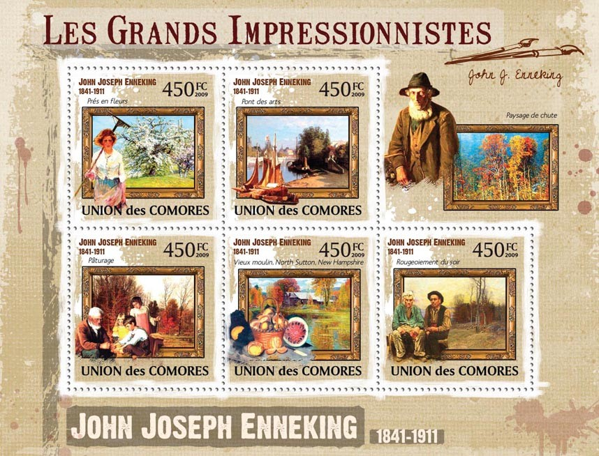 Paintings of John Joseph Enneking ( 1841  1911 ) - Issue of Comoros postage stamps